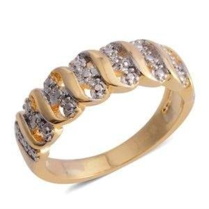Diamond Accent Goldtone and Silvertone Band Ring